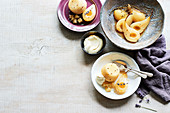 Lavender poached pear with Poire Williams pudding