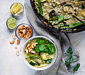 Vegan Thai Green Augbergine and Courgette Curry with bamboo shoots and cashews