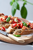 Bruschetta with cherry tomatoes and sheep's cheese