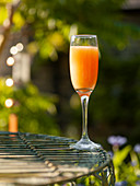 Orange cocktail on a garden table