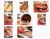 Paris chocolate cake being made