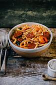 Pasta prawn chorizio tomatoes