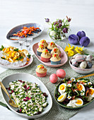 An Easter buffet laid with savoury and sweet dishes