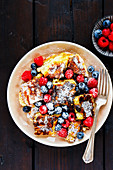 Shredded pancake with fresh berries
