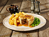 Steak Pie, Chips and Peas