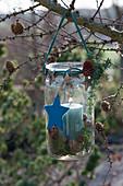 Einmachglas als Windlicht an Lärchenzweig gehängt, weihnachtlich mit Sternen und Zapfen geschmückt