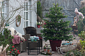 Weihnachtsterrasse mit Nordmanntanne als Weihnachtsbaum, Korbsessel mit Fell als Sitzplatz, Frau hantiert an der Feuerschale
