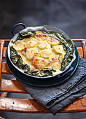Cheesy Scalloped Potatoes with broccoli and chard