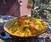 Saffron rice with prawns
