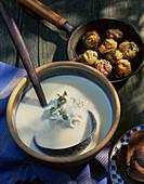 Cream of potato soup with meatballs
