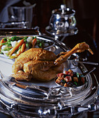 A festive roast chicken with vegetables