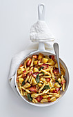 Pasta with potatoes, lardo, bacon, sage and pepper