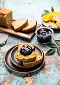 Seeded pumpkin bread with elderberry jam