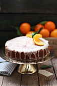 Orange cake with icing sugar