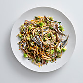 Spaghetti with sardines, broccoli and orange zest