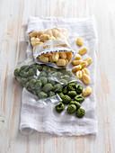Potato gnocchi, green and white
