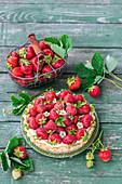 Erdbeer-Mascarpone-Tarte mit Erdbeerblüten