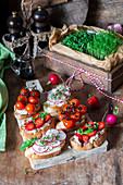 Bruschettas with cream cheese, roast tomatoes, strawberries and radishes