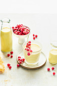 Mango lassi with frozen red currants