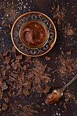 Chocolate caramel sauce with chopped chocolate