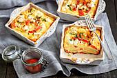 Potato tortilla with pepper and feta