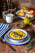 Thick pumpkin soup with thyme