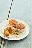 Coffee and date muffins with salted caramel topping