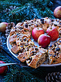 An apple and almond wreath for Christmas