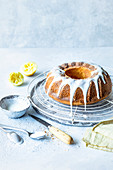 Lemon cake with sugar glaze
