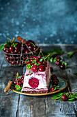 Chocolate cherry ice cream cake