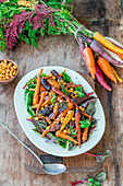 Carrot salad with spicy chickpeas