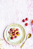 Yogurt with hemp seeds, cherries and peach