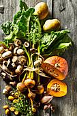 Various salad ingredients (pumpkin, yellow beets, potatoes, mushrooms)