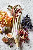 an arrangement of radicchio di treviso and fruit