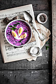 Beet cooler soup with egg and fresh dill
