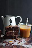 Brownies with caramel sauce