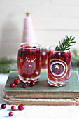 Cranberry juice in glasses (Christmas)
