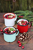 Winter tea with cranberries and cinnamon