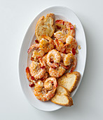Prawns with garlic, chilli, honey and sparkling wine