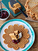 Norwegian waffles with Norwegian smoked cheese and jam