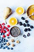 Chia, pear, raspberries, blackberries, nuts, honey and orange