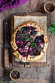 Beetroot galette with feta cheese and micro greens