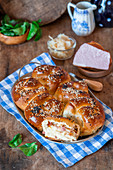 Yeast rolls with yeast and sour cabbage