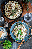 Risotto with mushrooms and thyme