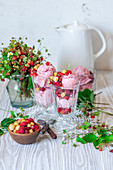 Wild strawberry ice cream in glasses