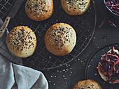 Vegan burger buns with sesame seeds