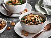 Vegetarian kale stew with croutons