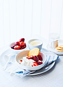 Strawberries and cream with sable biscuits
