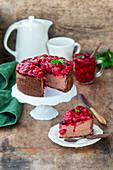 Chocolate cheesecake with cherry sauce