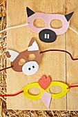 Handmade animal masks for child's birthday